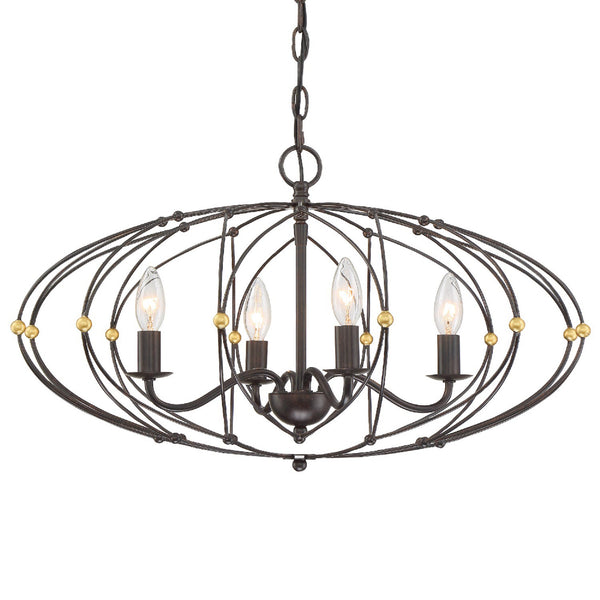 Crystorama ZUC-A9034-EB-GA Zucca Chandelier in English Bronze + Antique Gold