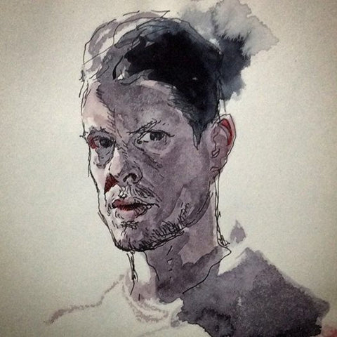 Water colour and Ink self portrait sketch