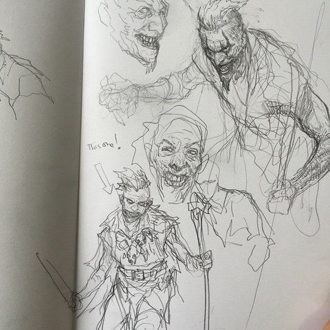 Page of Joker and Barbarian doodling