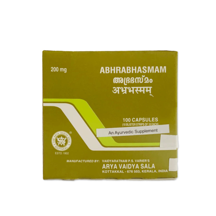 Abhra Bhasma Capsule Box, Ayurvedic Product manufactured by Arya Vaidya Sala, Kottakkal Ayurveda for USA Distribution