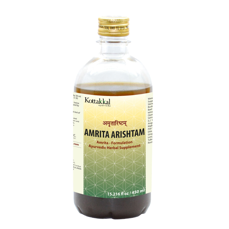 Amrita Arishtam Bottle, Ayurvedic Product manufactured by Arya Vaidya Sala, Kottakkal Ayurveda for USA Distribution