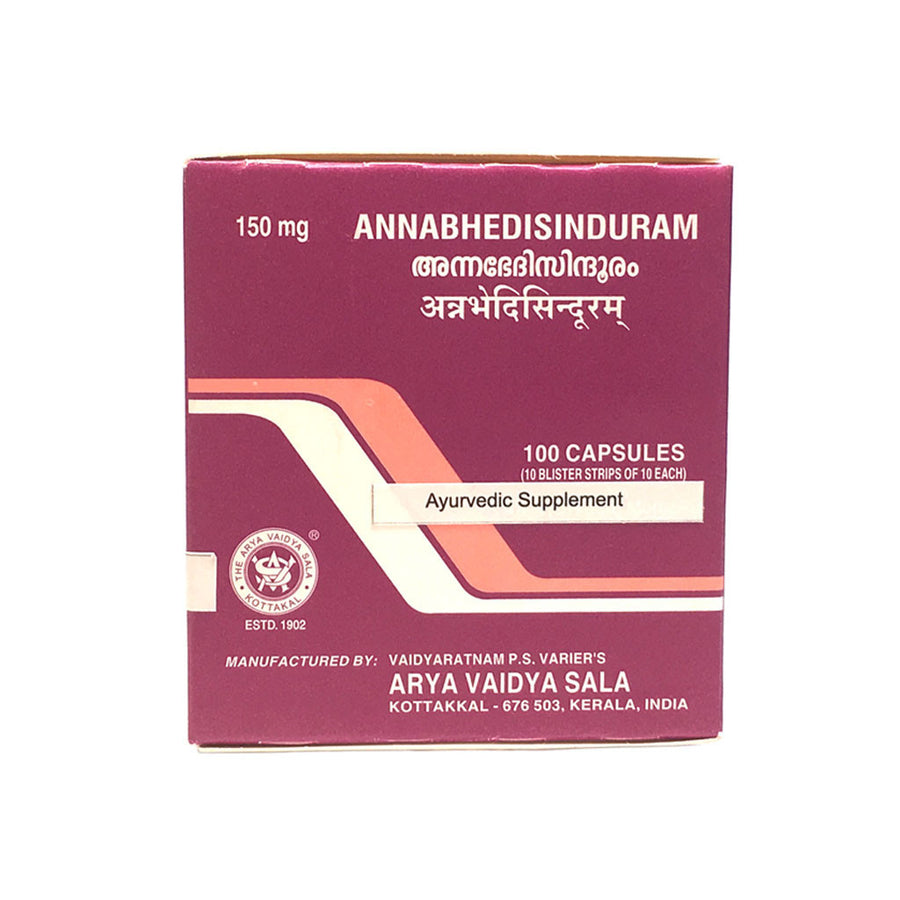 Annabhedisinduram Capsule Box, Ayurvedic Product manufactured by Arya Vaidya Sala, Kottakkal Ayurveda for USA Distribution
