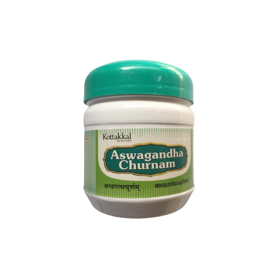 Aswagandha Churnam Bottle, Ayurvedic Product manufactured by Arya Vaidya Sala, Kottakkal Ayurveda for USA Distribution