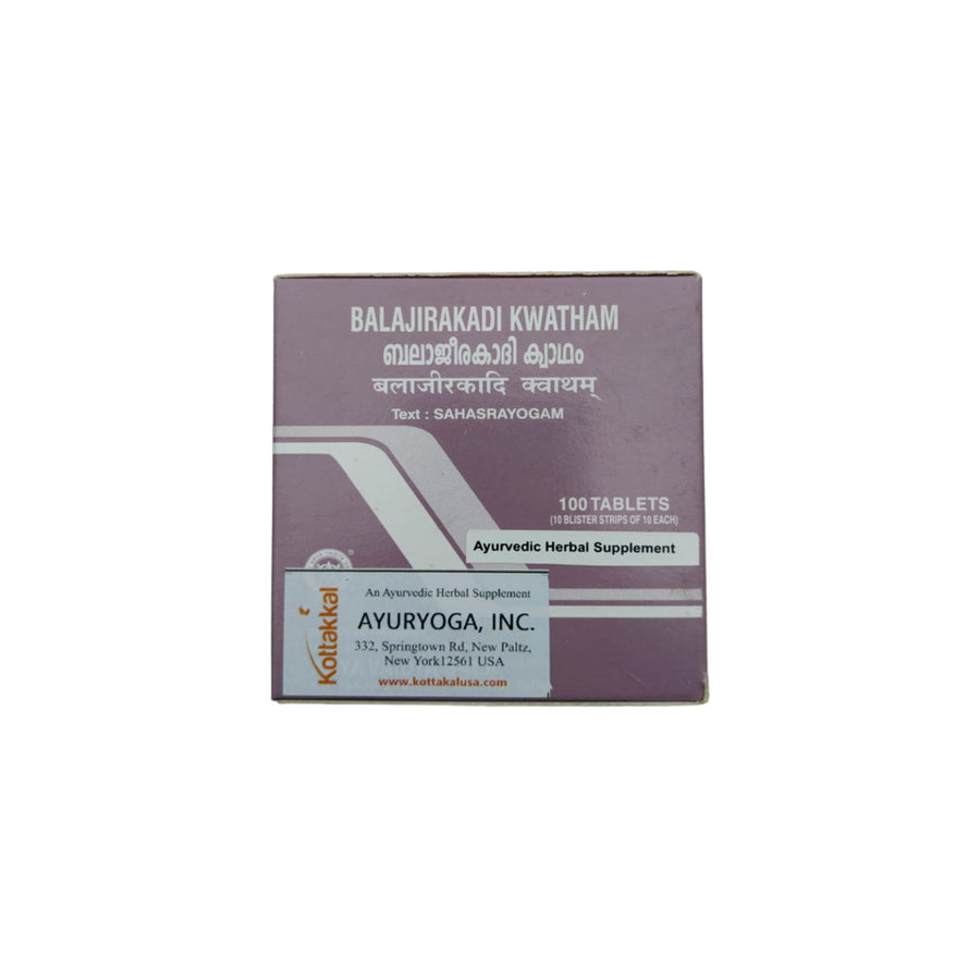 Balajirakadi Kwatham Box, Ayurvedic Product manufactured by Arya Vaidya Sala, Kottakkal Ayurveda for USA Distribution