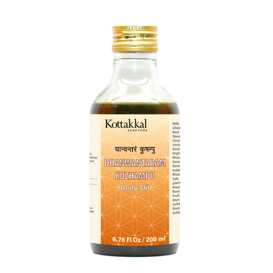 Dhanwantaram Kuzhampu Bottle, Ayurvedic Product manufactured by Arya Vaidya Sala, Kottakkal Ayurveda for USA Distribution