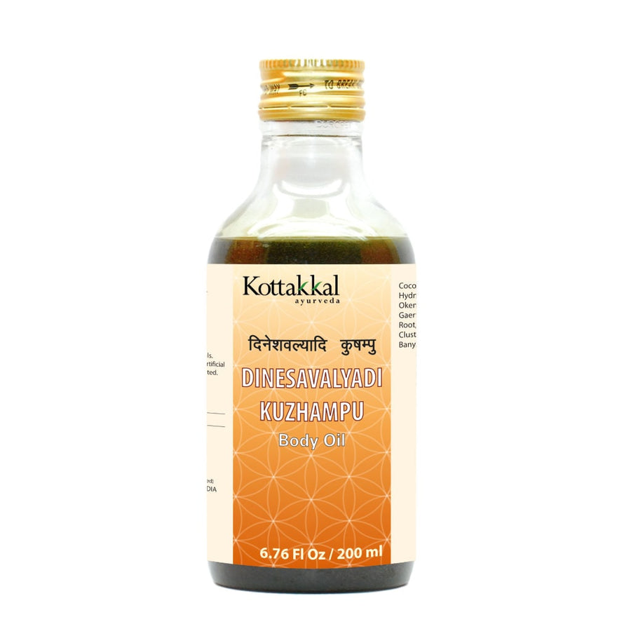 Dinesavalyadi Kuzhampu Oil Bottle, Ayurvedic Product manufactured by Arya Vaidya Sala, Kottakkal Ayurveda for USA Distribution