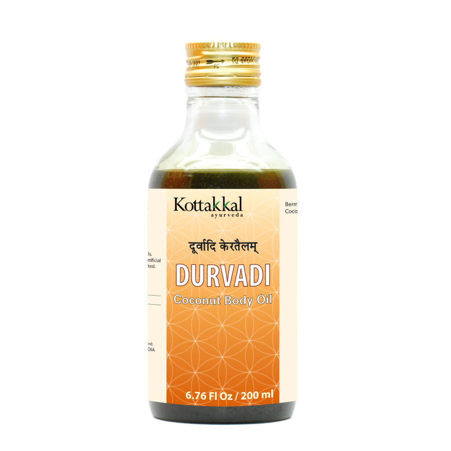 Durvadi Coconut Hair Oil Bottle, Ayurvedic Product manufactured by Arya Vaidya Sala, Kottakkal Ayurveda for USA Distribution