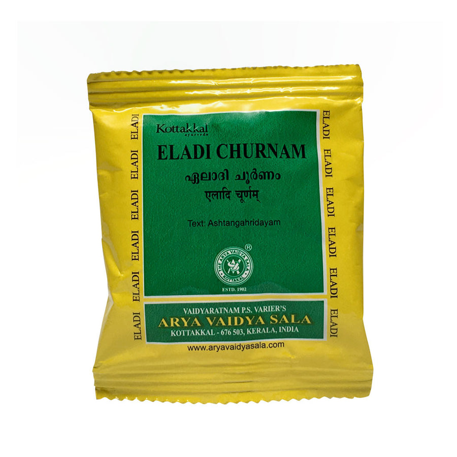 Eladi Churnam Packet, Ayurvedic Product manufactured by Arya Vaidya Sala, Kottakkal Ayurveda for USA Distribution