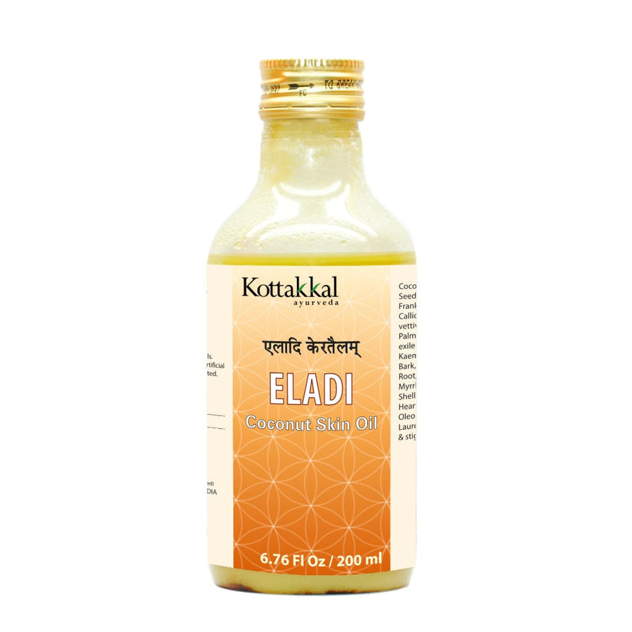 Eladi Coconut Skin Oil Bottle, Ayurvedic Product manufactured by Arya Vaidya Sala, Kottakkal Ayurveda for USA Distribution