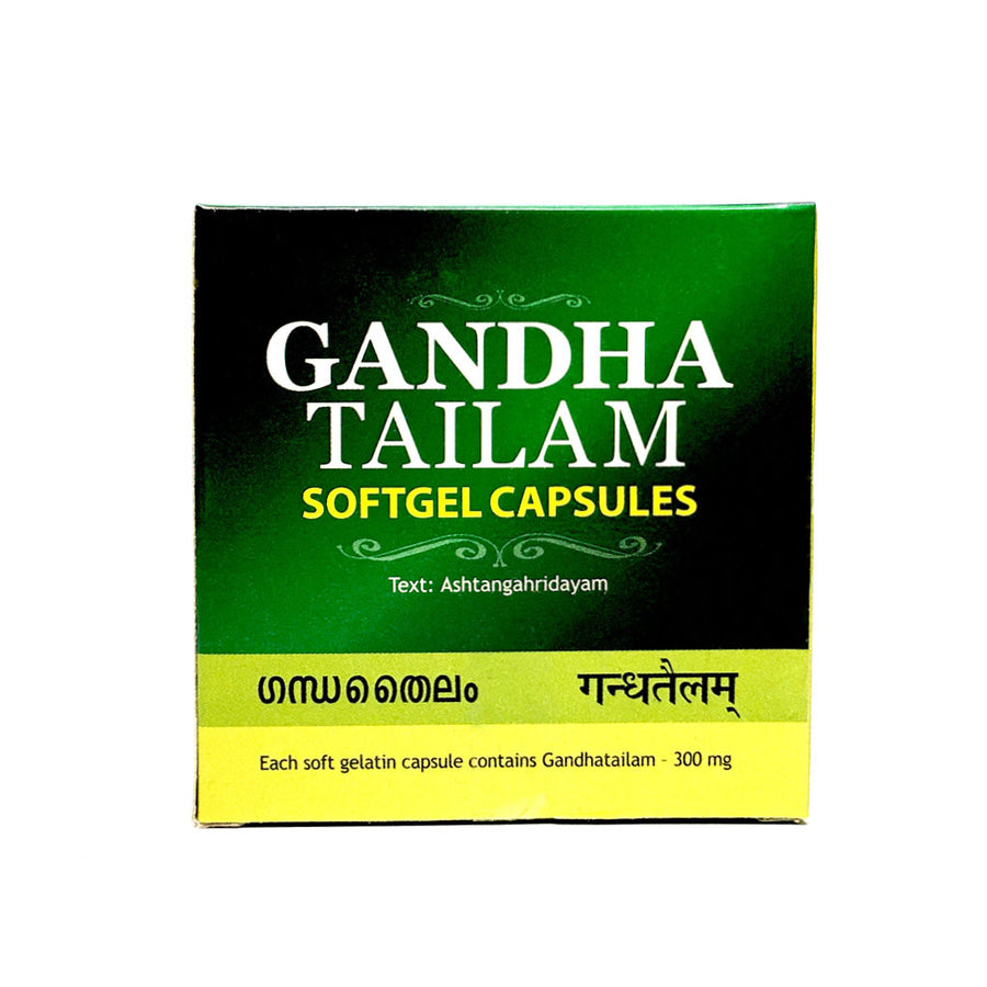 Gandha Tailam SoftGel Capsule Box, Ayurvedic Product manufactured by Arya Vaidya Sala, Kottakkal Ayurveda for USA Distribution