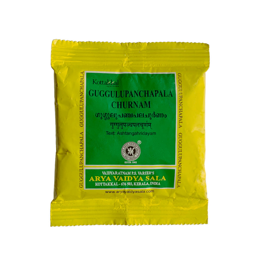 Guggulupanchapala Churnam Packet, Ayurvedic Product manufactured by Arya Vaidya Sala, Kottakkal Ayurveda for USA Distribution