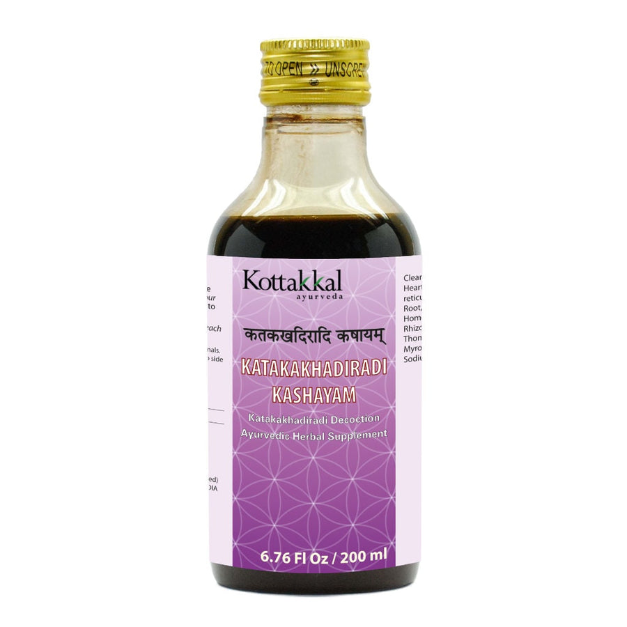 Katakakhadiradi Kashayam Bottle, Ayurvedic Product manufactured by Arya Vaidya Sala, Kottakkal Ayurveda for USA Distribution