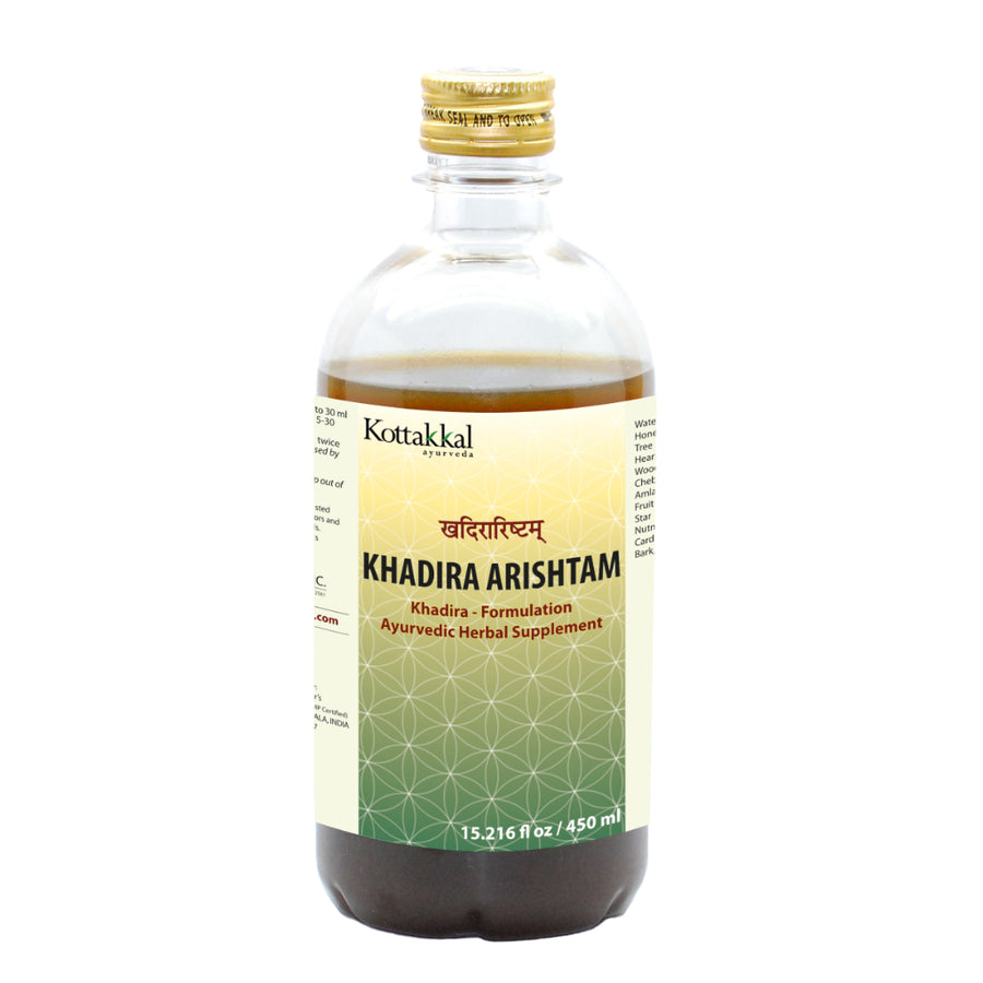 Khadira Arishtam Bottle, Ayurvedic Product manufactured by Arya Vaidya Sala, Kottakkal Ayurveda for USA Distribution