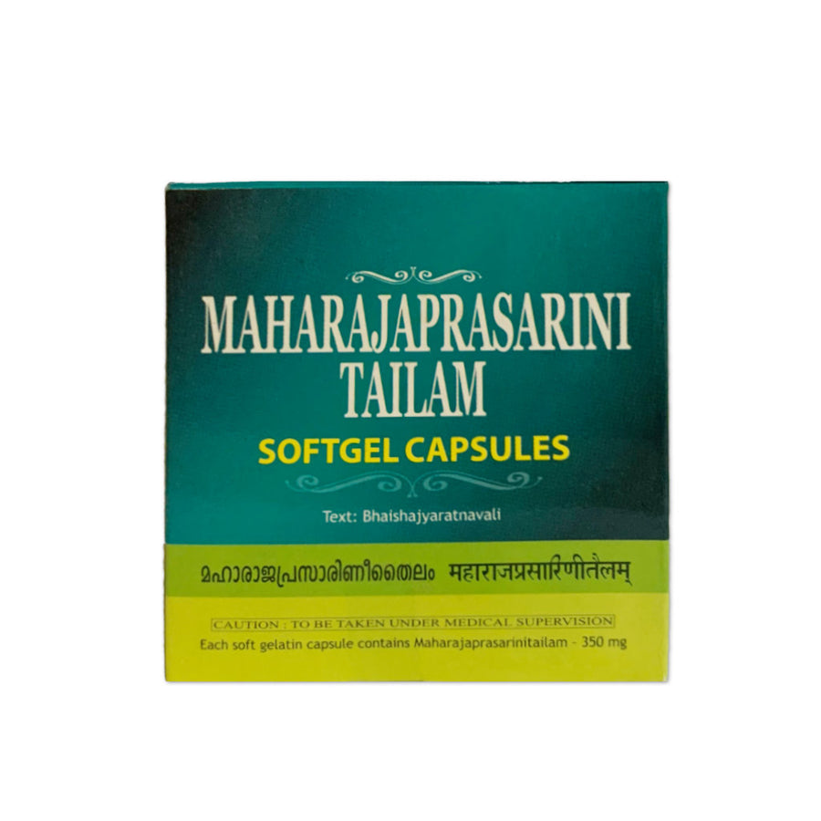 Maharajaprasarini Tailam SoftGel Capsule Box, Ayurvedic Product manufactured by Arya Vaidya Sala, Kottakkal Ayurveda for USA Distribution