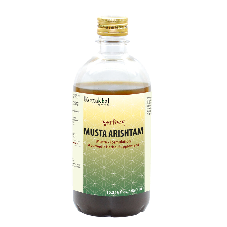 Musta Arishtam Bottle, Ayurvedic Product manufactured by Arya Vaidya Sala, Kottakkal Ayurveda for USA Distribution