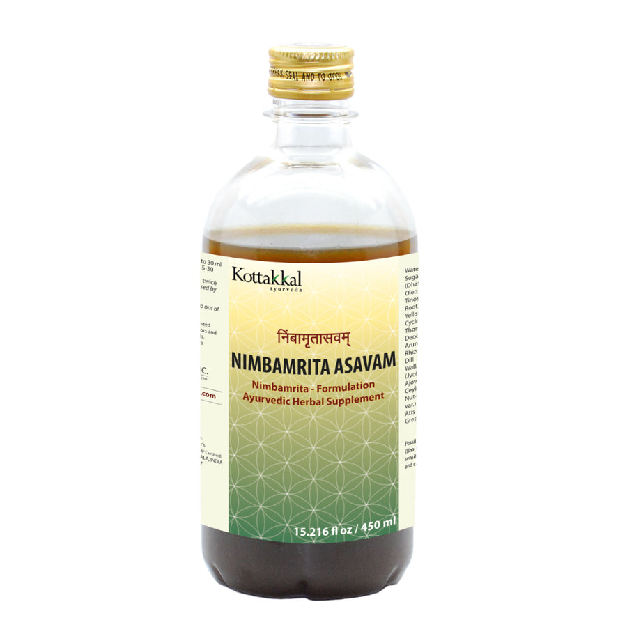 Nimbamrita Asavam Bottle, Ayurvedic Product manufactured by Arya Vaidya Sala, Kottakkal Ayurveda for USA Distribution