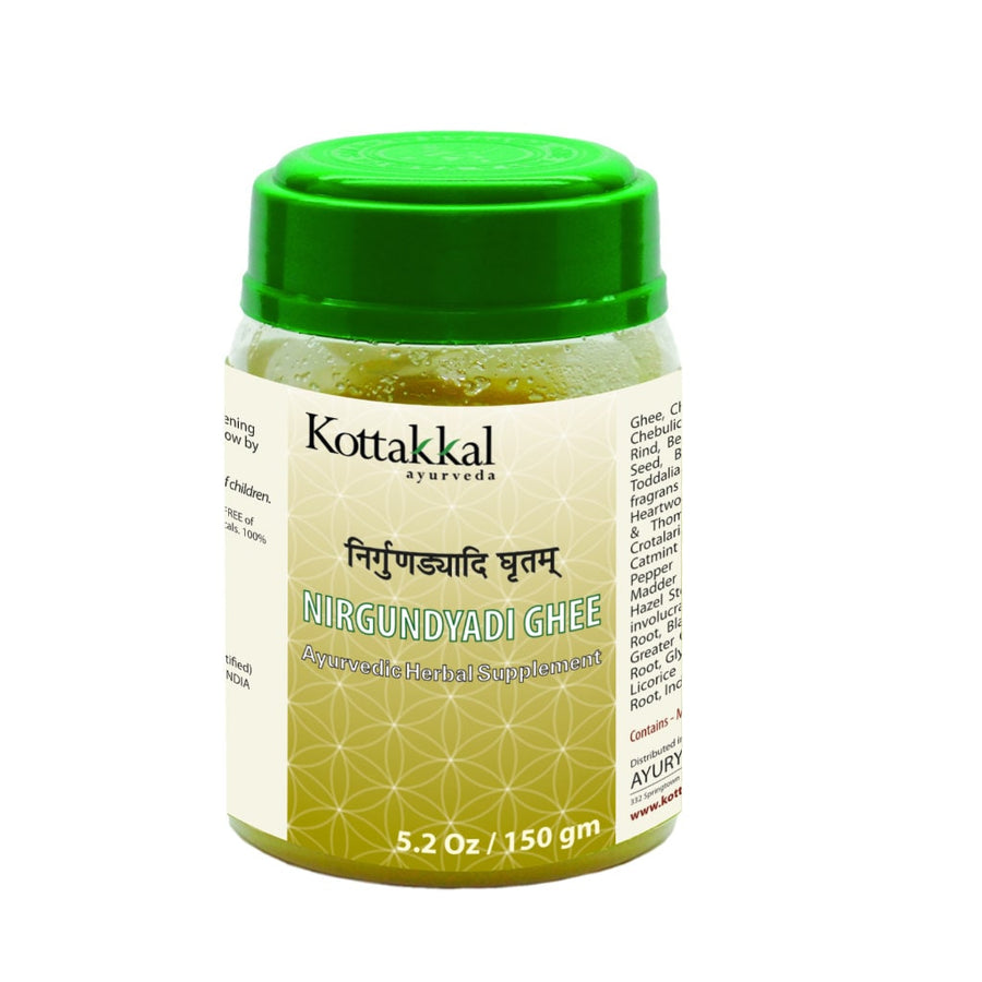 Nirgundyadi Ghritam Bottle, Ayurvedic Product manufactured by Arya Vaidya Sala, Kottakkal Ayurveda for USA Distribution