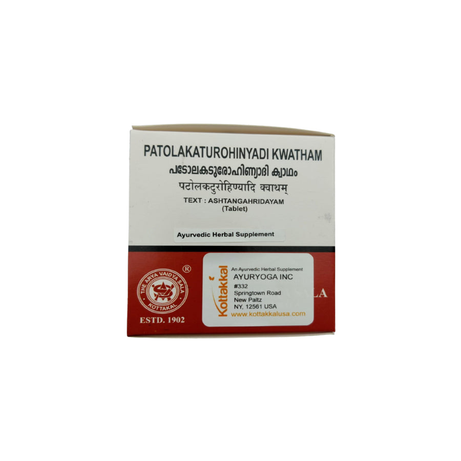 Patolakaturohinyadi Kwatham Box, Ayurvedic Product manufactured by Arya Vaidya Sala, Kottakkal Ayurveda for USA Distribution