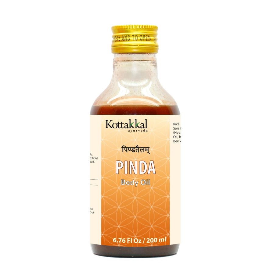 Pinda Oil Bottle, Ayurvedic Product manufactured by Arya Vaidya Sala, Kottakkal Ayurveda for USA Distribution
