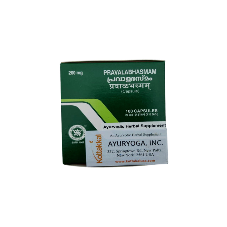 Pravala Bhasmam Capsule Box, Ayurvedic Product manufactured by Arya Vaidya Sala, Kottakkal Ayurveda for USA Distribution