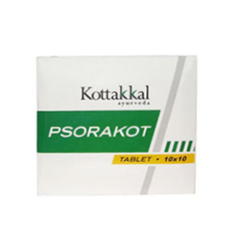 Psorakot Tablet Box, Ayurvedic Product manufactured by Arya Vaidya Sala, Kottakkal Ayurveda for USA Distribution