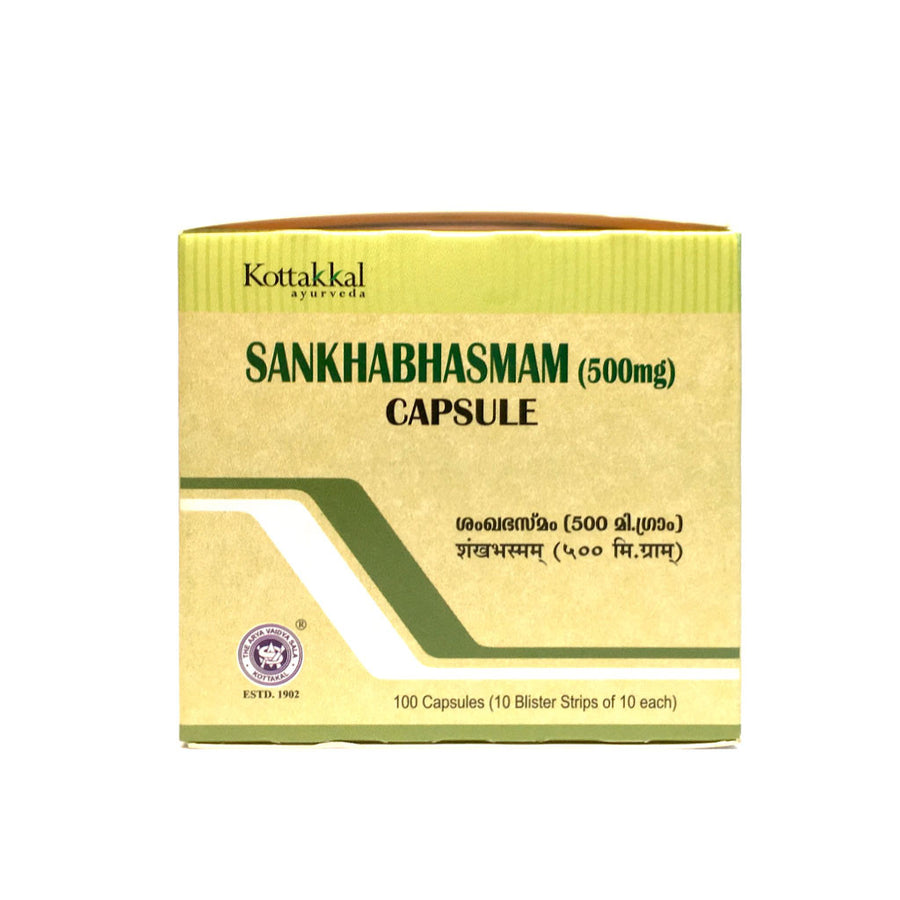 Sankha Bhasmam Capsules Box, Ayurvedic Product manufactured by Arya Vaidya Sala, Kottakkal Ayurveda for USA Distribution