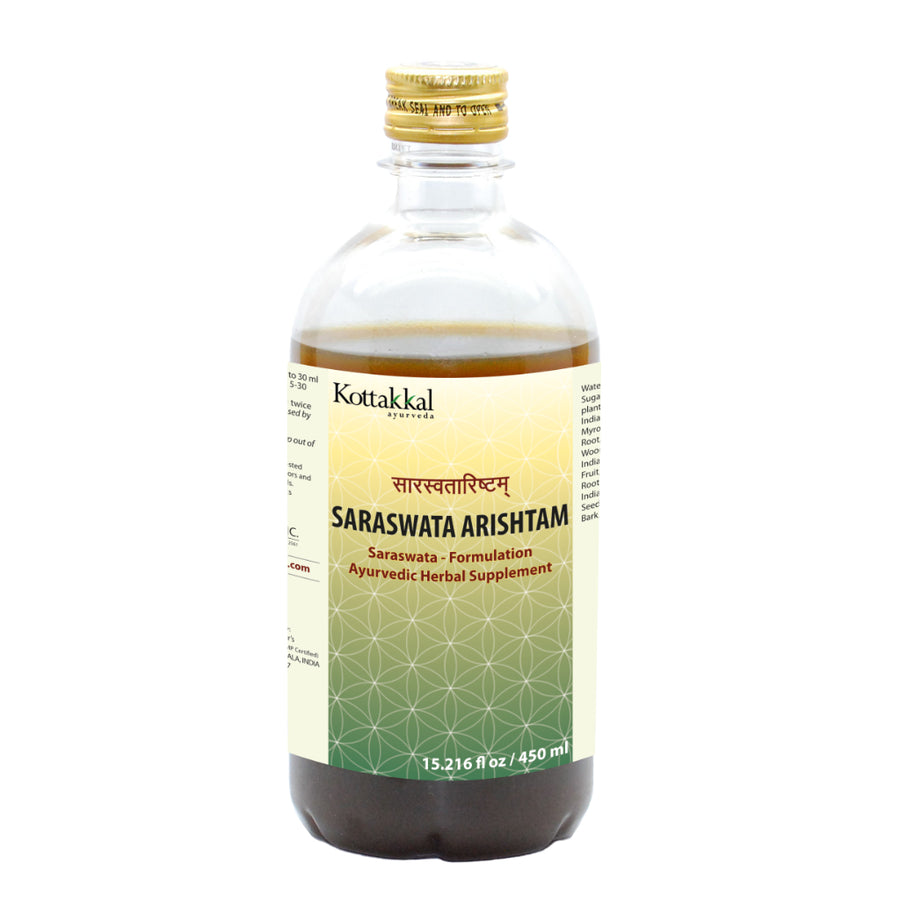 Saraswata Arishtam Bottle, Ayurvedic Product manufactured by Arya Vaidya Sala, Kottakkal Ayurveda for USA Distribution