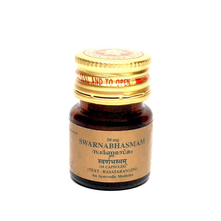 Swarna Bhasma Capsule in Bottle, Ayurvedic Product manufactured by Arya Vaidya Sala, Kottakkal Ayurveda for USA Distribution