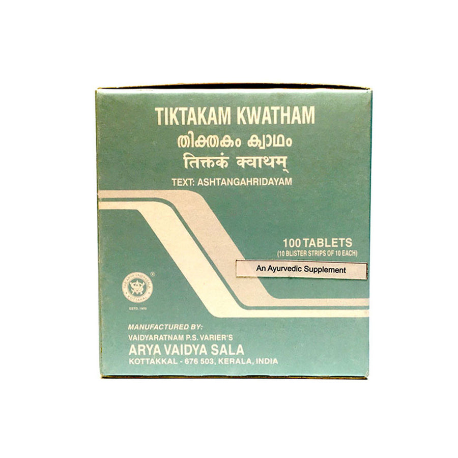 Tiktakam Kwatham Box, Ayurvedic Product manufactured by Arya Vaidya Sala, Kottakkal Ayurveda for USA Distribution