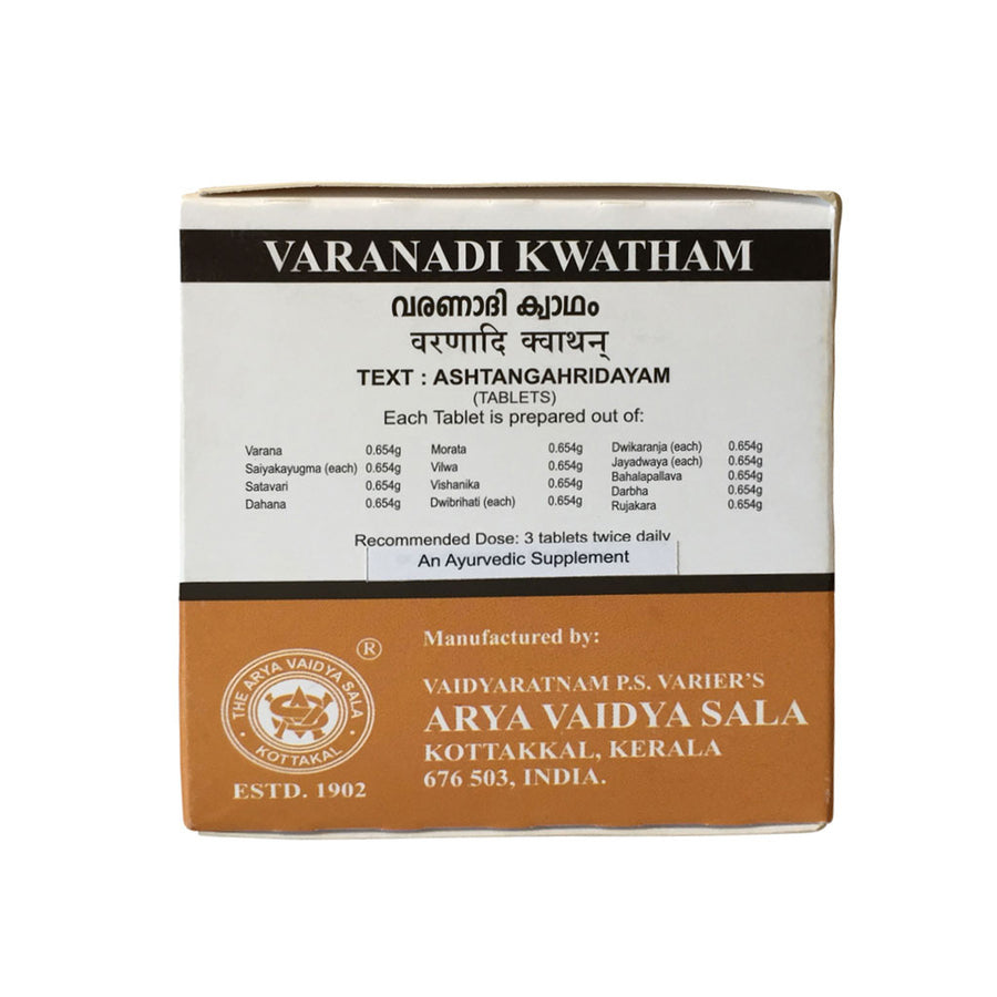 Varanadi Kwatham Box, Ayurvedic Product manufactured by Arya Vaidya Sala, Kottakkal Ayurveda for USA Distribution