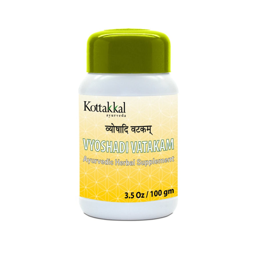 Vyoshadi Vatakam Bottle, Ayurvedic Product manufactured by Arya Vaidya Sala, Kottakkal Ayurveda for USA Distribution