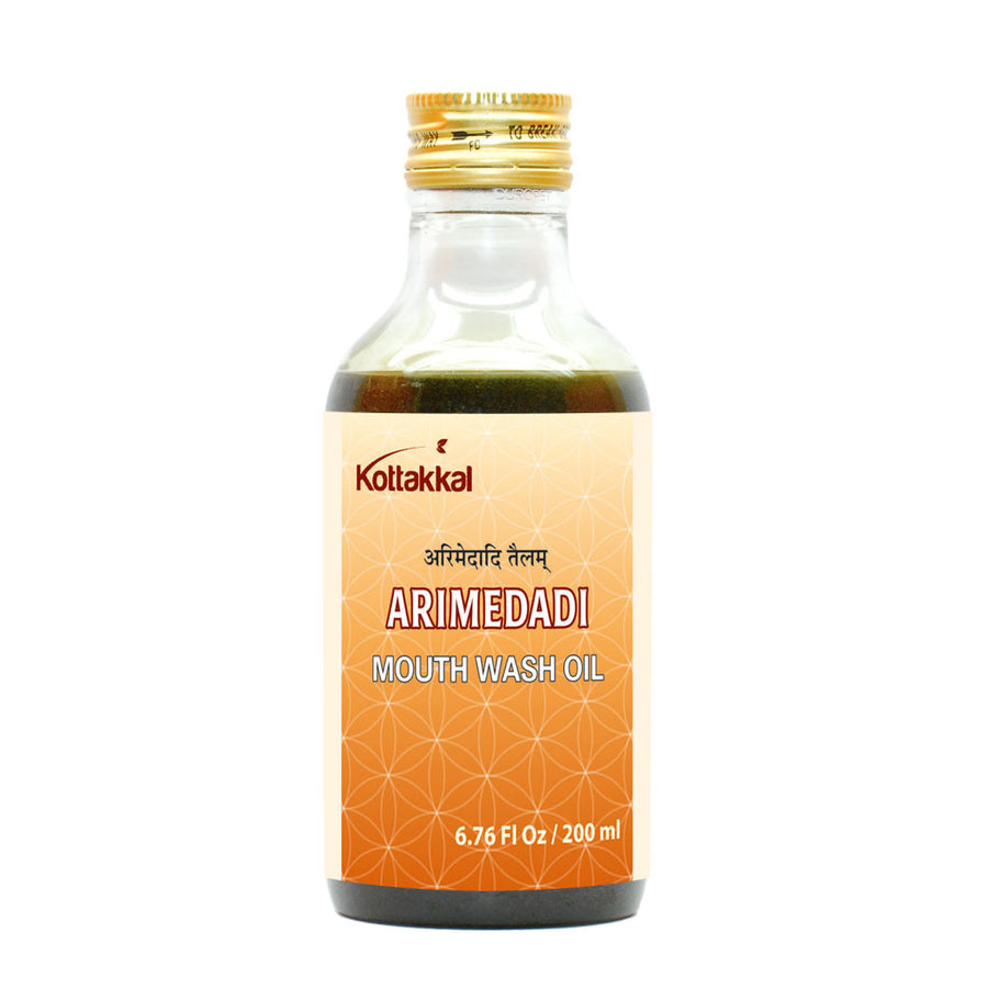 Arimedadi Mouth Wash Oil Bottle, Ayurvedic Product manufactured by Arya Vaidya Sala, Kottakkal Ayurveda for USA Distribution