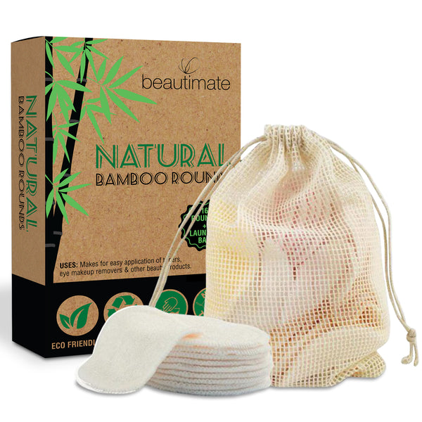 Bamboo Cotton Reusable Makeup Remover Pads 16 Pack With Laundry Bag