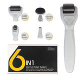 6 in 1 Derma Roller Set Microneedle Skin Care Face Brush & Stamp w/Travel Case