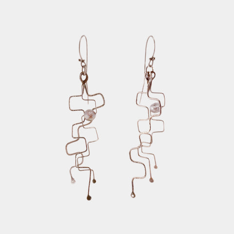 Fine Silver Geometric Earrings with Pearl- 4""