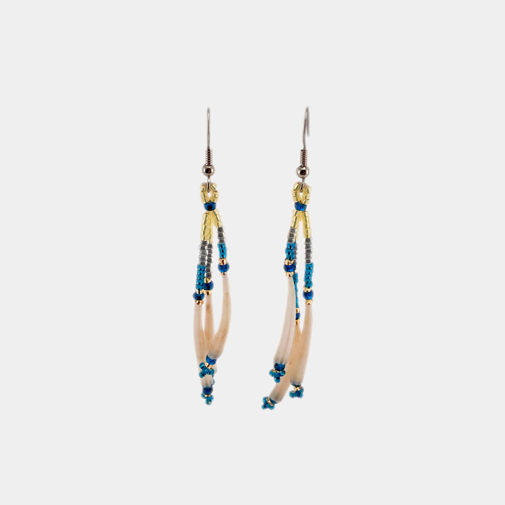 "Dentalium Shell And Bead Earrings - 2.5"" L"