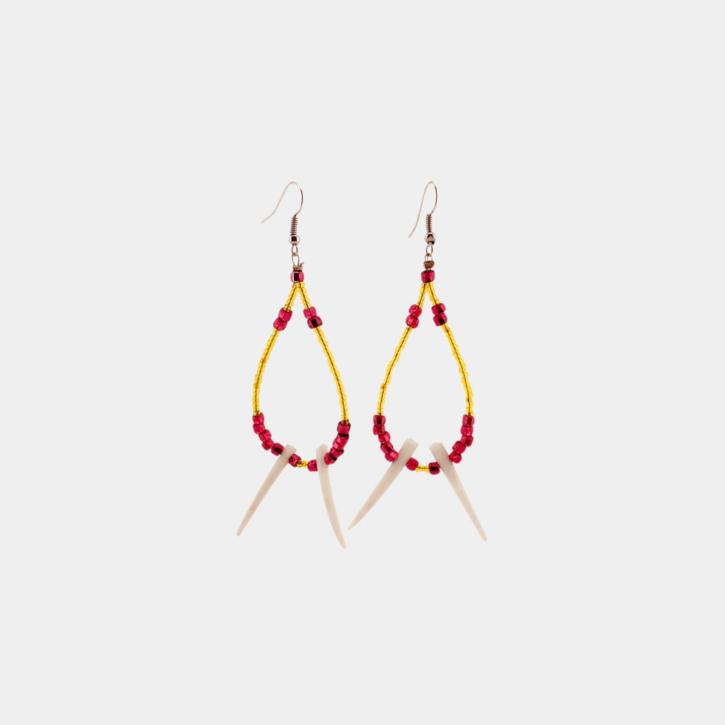Glass Bead and Dentalium Hoops with Spikes Earrings