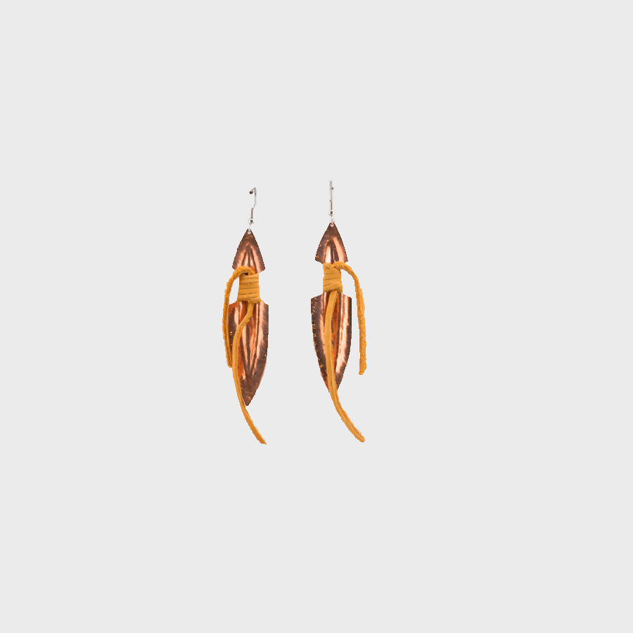Copper and Deer Hide Earrings