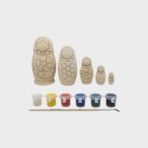 "4.25"" Set of 5 Unpainted Wooden Russian Nesting Dolls, With Paint"
