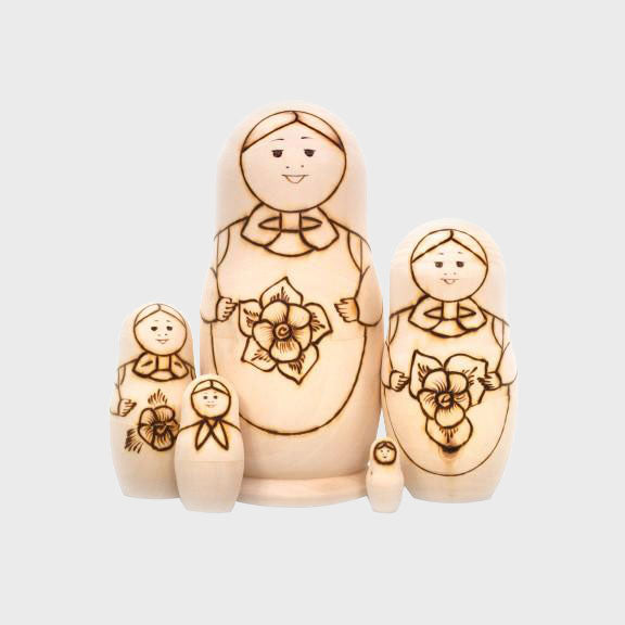Flower Traditional Coloring Nesting Doll w/ Pyrographic Outlines (5 pc.)