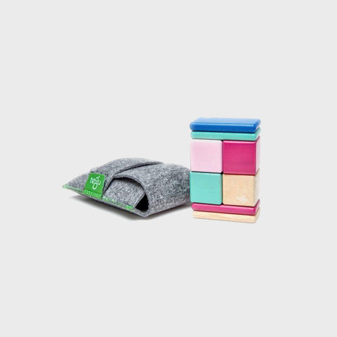 8 Piece Tegu Original Pocket Pouch Magnetic Wooden Blocks