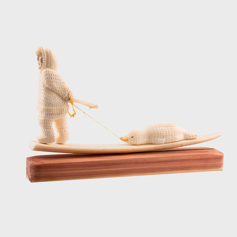 Ivory Seal Hunter on Red Cedar Base