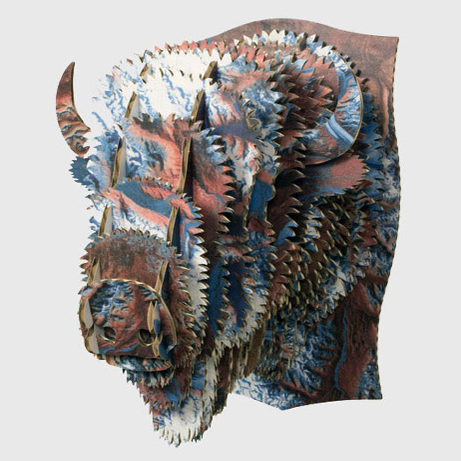 Alaskan Map Cardboard Bison Head