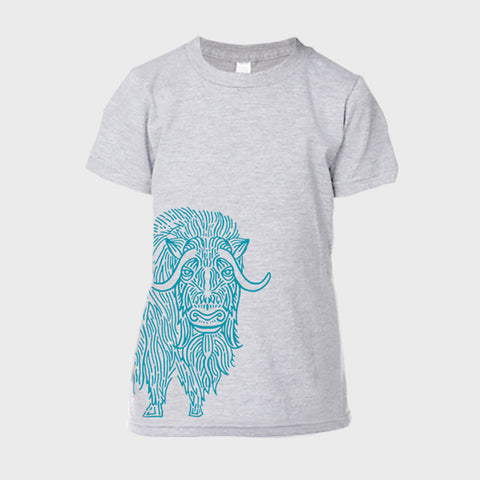 T-Shirt: Youth Heather Grey Musk Ox