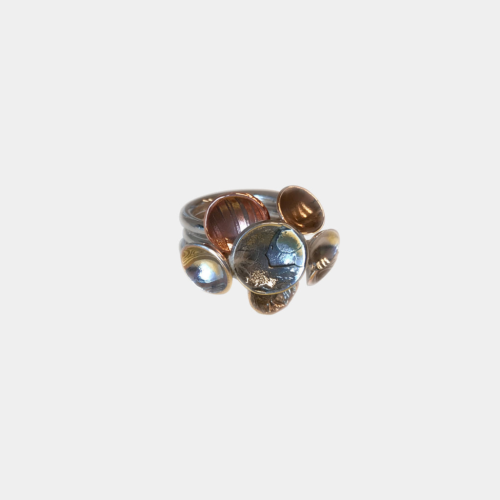 Cocktail Ring with Copper, Silver and Bronze