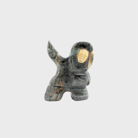 Soapstone Male Dancer with Caribou Horn Face