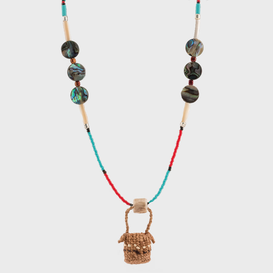 Alaska native art tagged nw coast anchorage museum cedar bark weaving basket beaded necklace with abalone aloadofball Gallery