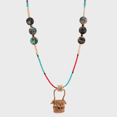 Cedar Bark Weaving Basket Beaded Necklace with Abalone