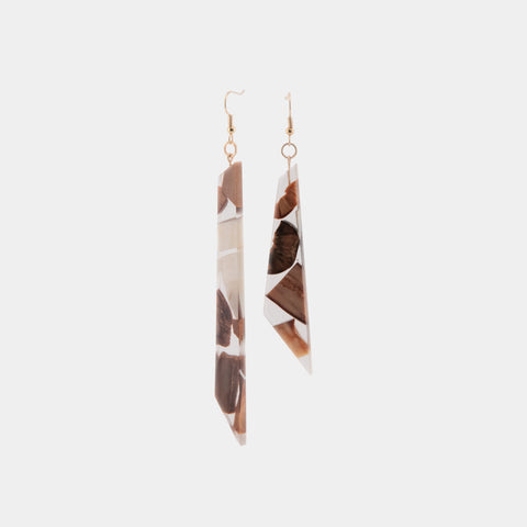 Asymmetrical Earrings - Walrus, Fossilized Walrus, Fossilized Mastodon Ivory