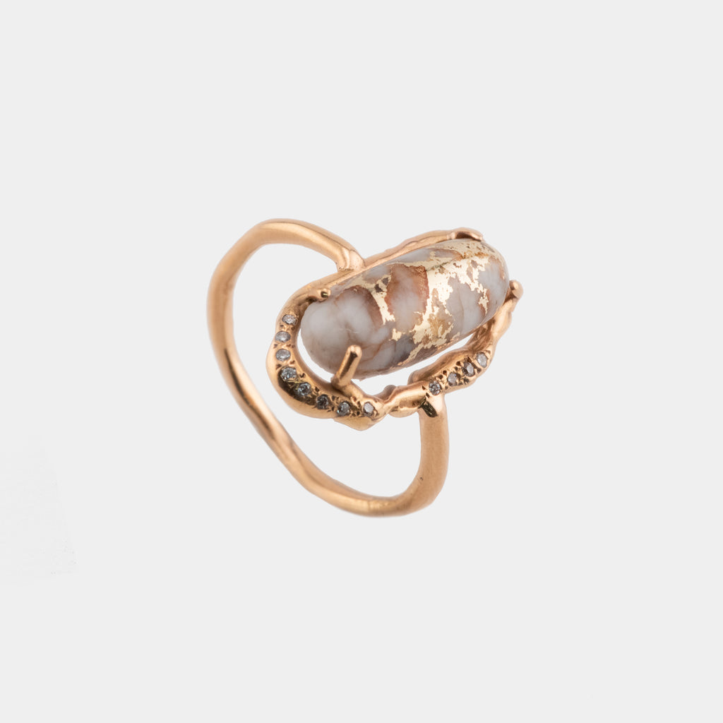 Rose Gold, Quartz, and Diamond Ring